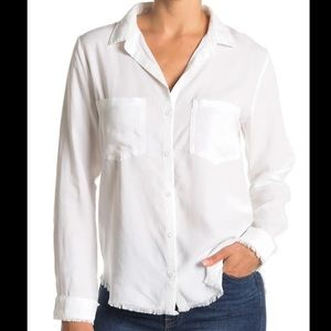 Cloth & stone white fray hem pocket button down